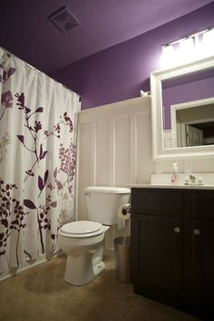 Kids/Guest Bathroom ideas - purple, board & batten, black or espresso vanity... May change the colors thou