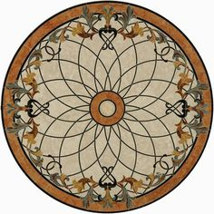 Same Day Ship, 36inch tile floor medallions, Marble tile Medallion, Stone tile floor medallion, Mosaic Flooring, Tile Borders, Waterjet cut Flooring - Waterjet Wonders, LTD  Elevator Vestibule