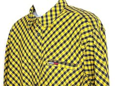 Tommy Hilfiger Sz XL Blue and Yellow Checked Men's Cotton Button Front Shirt EUC #TommyHilfiger #ButtonFront