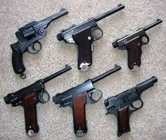 Various examples of Japanese handguns