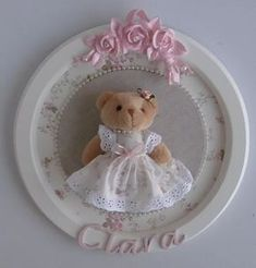 linda princesa ursinha placa quadro porta maternidade perola