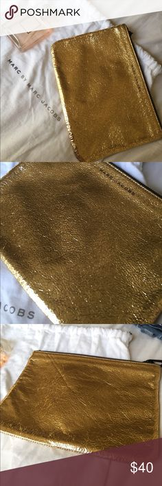 marc Jacobs Gold Foil leather clutch reposting :) Marc Jacobs Bags Clutches & Wristlets