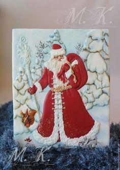 """Купить """"Дед Мороз"""" - комбинированный, имбирные пряники, имбирный пряник, имбирный человечек, пряники в подарок"""