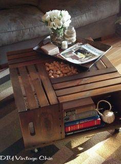 Schattig tafeltje, zo zelf gemaakt van oude houten kratjes Door Qliek