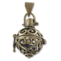 Pendentif boule décorée ouvrable 39,5 mm bronze x1