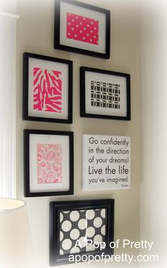Feminine and modern wall art for a craft room...made from scrapbook paper!