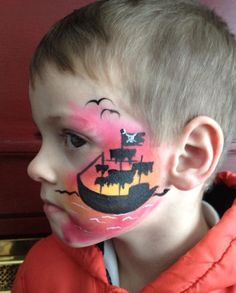 Pirate ship face painting.