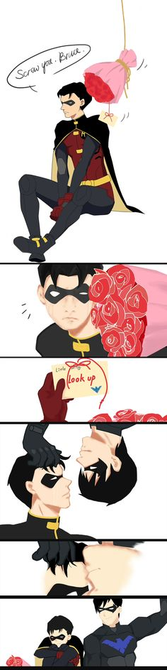 #dickjay Young Justice Jason Todd- Robin Dick Grayson - Nightwing Happy Valentine's Day!
