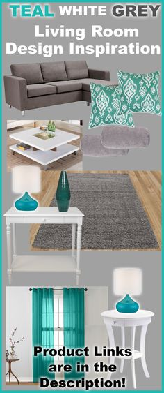 Full List of Inspired Products: http://www.readingpillowsplus.com/blogs/news/26893700-teal-white-and-grey-living-room-design-inspiration