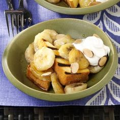 Grilled Pound Cake with Warm Amaretto Bananas Recipe -Banana, butter and caramel flavors go so well together already, and then you add a sweet almond liqueur, such as Amaretto, and a little lemon juice to take this grilled dessert to a new level. —Carol Traupman-Carr, Breinigsville, Pennsylvania