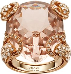 Ooh Gucci Cocktail Ring  horsebit cocktail ring, in 18kt pink gold, light brown diamonds and morganite, morganite total 21 carats,184 diamonds total 1.97 carats, brilliant cut, G/H, VVS weight 16g