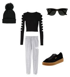 """Super Comfy"" by smbklyn on Polyvore featuring Cushnie Et Ochs, Ray-Ban, Forever 21 and Puma"