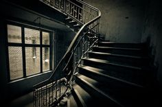 beautiful old staircase. wroclaw, poland.