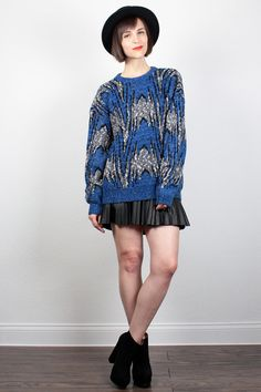 Vintage 1980s Sweater Blue Gray Black New Wave Cosby Sweater Hipster 80s Jumper Chevron Stripe Abstract Print Mod Pullover M L Large XL by ShopTwitchVintage #vintage #etsy #80s #1980s #sweater #jumper #pullover #knit #cosbysweater #newwave