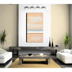 Abstract Painting, Peach and Grey Abstract Art Large 48x24, Peach and... (€230) ❤ liked on Polyvore featuring home, home decor, wall art, moon wall art, gray painting, moon painting, gray home decor and abstract painting