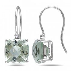 0.02 CT Diamond TW and 8 CT TGW Green Amethyst 10K White Gold Hook Earrings