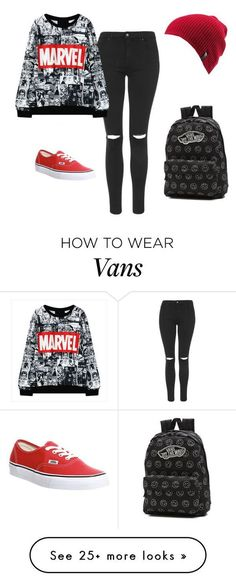 """Marvel"" by royal-unicorn on Polyvore featuring Topshop, Vans and Volcom..."
