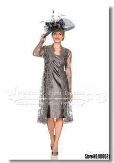 Elegant coffee Knee Length Mother Of the bride Dresses with lace jacket 2014-in Mother of the Bride Dresses from Apparel & Accessories on Al...