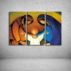 Hand Painted Child & Parents Family Oil Painting Modern Abstract Acrylic Figure Paintings Home Decor Wall Art 3 Panel Pictures Modern Art Paintings, Original Paintings, Nativity Painting, Christian Paintings, Jesus Painting, Jesus Art, Wall Art Pictures, Native Art, Oil Painting Abstract
