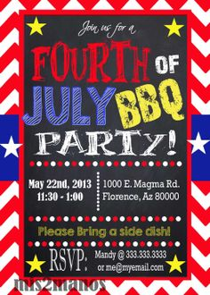 Fourth of July Chalkboard BBQ Memorial Day by M2MPartyDesigns