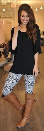 Printed leggings! Switch up your basic, solid leggings for a fun pair with pattern! Wear these with great basic tops and sweaters, and riding boots or cute booties for a fabulous everyday look! Don't be shy to spice things up!