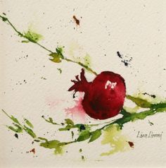 pomegranate, fruit, watercolor, painting, fine art, Lisa Livoni, Napa Valley artist