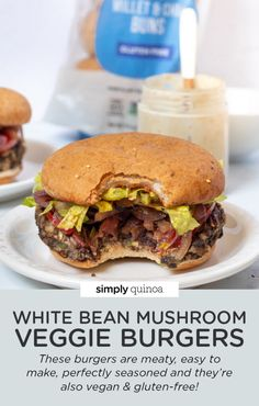 This white bean mushroom veggie burger recipe is the best you'll ever try! They're meaty, easy to make, perfectly seasoned as well as vegan and gluten-free! Such a healthy homemade dinner idea. Burger Recipes, Vegetarian Recipes, Whole Food Recipes, Cooking Recipes, Free Recipes, Mushroom Veggie Burger, Gluten Free Buns, Vegan Burgers, Plant Based Eating