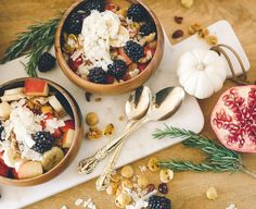 Set out a healthy breakfast bowl bar for brunch or breakfast. Fresh fruit, greek yogurt, granola and nuts make this the perfect DIY breakfast idea.