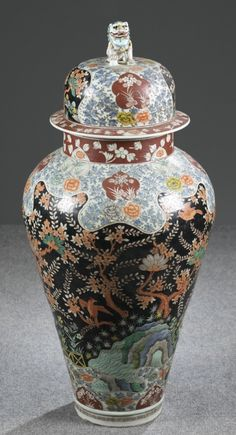 Pair of Japanese painted porcelain vases.
