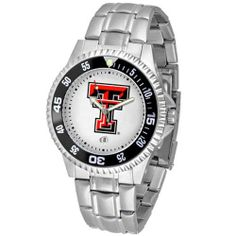 """Texas Tech Red Raiders NCAA """"Competitor"""" Mens Watch (Metal Band) by SunTime. $84.59. Rotating Bezel. Color Coordinated. Calendar Date Function. Showcase the hottest design in watches today! A functional rotating bezel is color-coordinated to compliment your favorite team logo. A durable, long-lasting combination nylon/leather strap, together with a date calendar, round out this best-selling timepiece.. Save 10% Off!"""