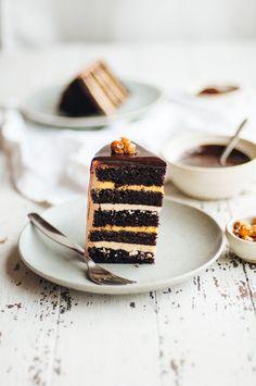 Dark Chocolate, Passion Fruit, and Hazelnut Layer Cake