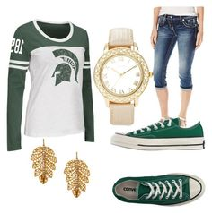 """College: Michigan State"" by eyleen-i on Polyvore featuring Campus Heritage, Miss Me, Converse, Chico's and Marika"