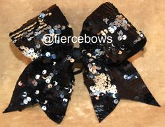 Black and Silver Reversible Sequin Cheer Bow on Etsy, $11.00