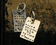 I'm MICRO CHIPPED Scan Me to Find My People Family Mom Dad. Vintage Inspired Pet Tags™ by Sycamore Hill. CUSTOM Pet Tags with Phone Number