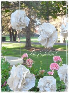 Curtain of 7 Garlands Vintage Book Page Paper by LoveEmbellished