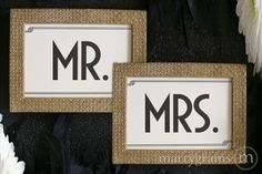 """ALL kind of ivory signs and cards to choose from in this classic Art Deco style from Marrygrams! Seen here are the """"Mr. and Mrs."""" Wedding Reception Chair Signs Deco Style"""