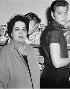 A photo of Elvis and his mom.