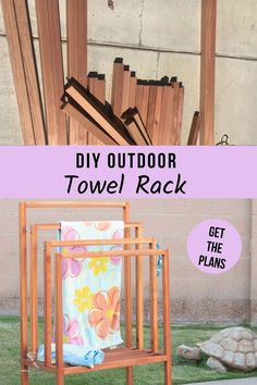 Learn how to build this easy DIY outdoor towel rack. It is a quick project with detailed tutorial, plans, and videos. It looks great too! #woodworking #outdoor #AnikasDIYLife Kreg Jig Projects, Scrap Wood Projects, Woodworking Projects That Sell, Outdoor Projects, Diy Woodworking, Furniture Projects, Diy Furniture, Diy Projects, Project Ideas