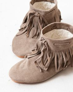 ANNIEL 2012AW kids fringe short boots (164 TOPO grey beige) 29-34 ≪COUPRIO≫
