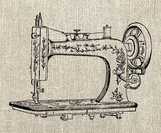 Vintage Sewing Machine Graphic Image Transfer Art Digital Download Clipart  by DIYVintageArt, $1.20
