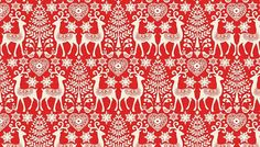 Scandinavian Christmas material  89cm length  Red by SenseOfCotton
