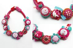 Pink fiber necklace textile and crochet jewelry por rRradionica