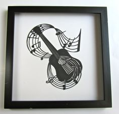 GUITAR and Music Notes for MUSIC LOVERS Wall and Home by BoldFolds, $100.00