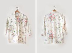 SALE Womens Floral Blazer - Cream / Spring Fashion. $28.00, via Etsy.