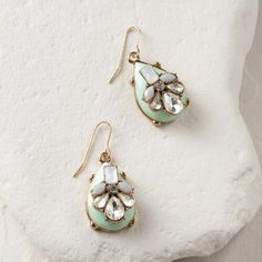 One of my favorite discoveries at WorldMarket.com: Mint and Rhinestone Statement Teardrop Earrings