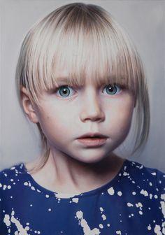 Gottfried Helnwein. Head of a Child (Ruth). Oil & acrylic on canvas, 2014