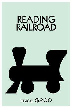 Monopoly Inspired Pennsylvania Railroad Poster Game Print Wall Decor