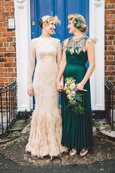 920s style bride and bridesmaid