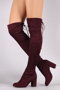 Suede Drawstring Tie Chunky Heeled Over-The-Knee Boots - Gioellia Boutique - 4