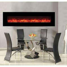 Yosemite Home Decor Hera 95 in. Wall-Mount Wide Glass Electric Fireplace in - The Home Depot Recessed Electric Fireplace, Wall Mount Electric Fireplace, Mounted Fireplace, Fireplace Hearth, Oak Mantle, Beautiful Wall, Home Staging, Interior Decorating, Furniture